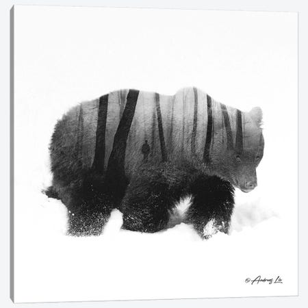 Black & White Bear I Canvas Print #ALE250} by Andreas Lie Canvas Wall Art