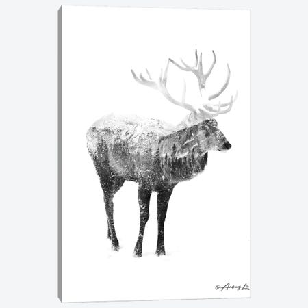 Black & White Elk I Canvas Print #ALE262} by Andreas Lie Canvas Art Print