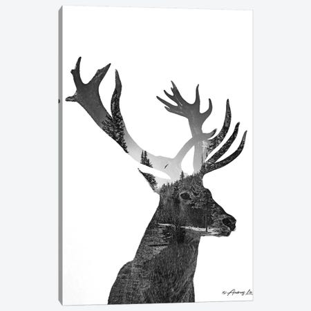 Black & White Elk II Canvas Print #ALE263} by Andreas Lie Art Print