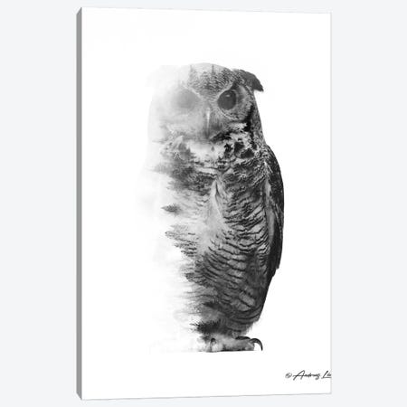Black & White Owl I Canvas Print #ALE266} by Andreas Lie Canvas Artwork