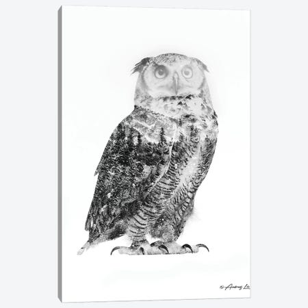 Black & White Owl II Canvas Print #ALE267} by Andreas Lie Canvas Artwork