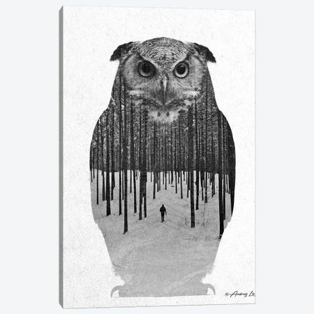 Black & White Owl IV Canvas Print #ALE269} by Andreas Lie Canvas Print
