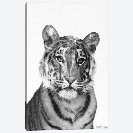 Black & White Tiger Canvas Print #ALE271} by Andreas Lie Canvas Wall Art