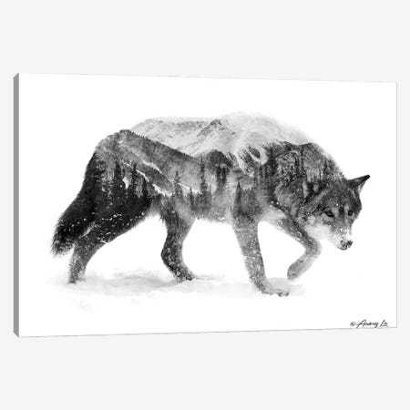 Black & White Wolf I Canvas Print #ALE273} by Andreas Lie Canvas Art