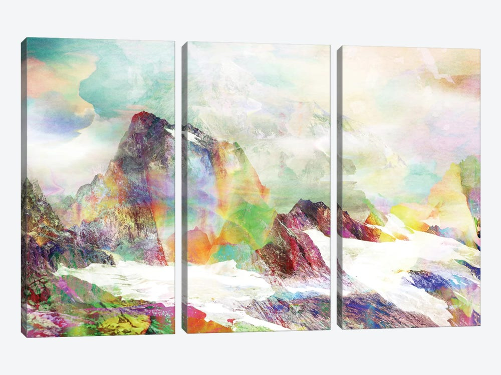 Glitch Mountain by Andreas Lie 3-piece Canvas Print
