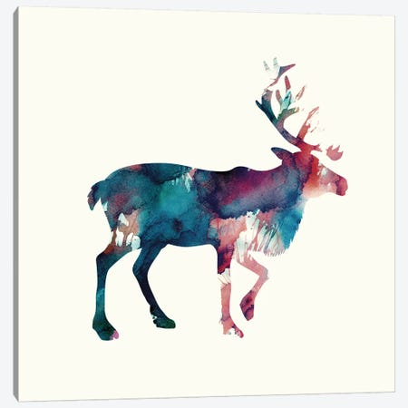Reindeer II Canvas Print #ALE90} by Andreas Lie Canvas Art Print
