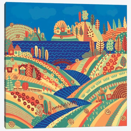 Village On The Hill Canvas Print #ALG112} by Alisa Galitsyna Canvas Art