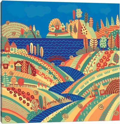 Village On The Hill Canvas Art Print