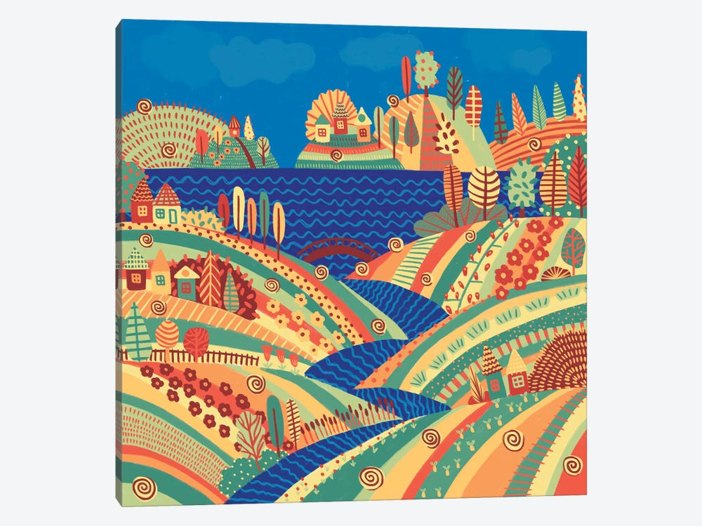 Village On The Hill by Alisa Galitsyna 1-piece Canvas Wall Art