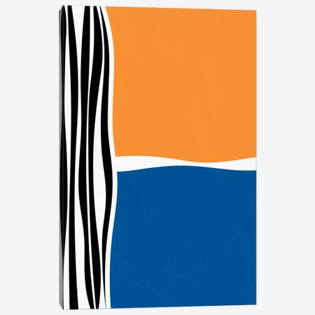 Irregular Shapes & Stripes - Orange & Blue Canvas Print #ALG38} by Alisa Galitsyna Canvas Print