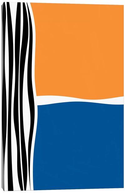 Irregular Shapes & Stripes - Orange & Blue Canvas Art Print