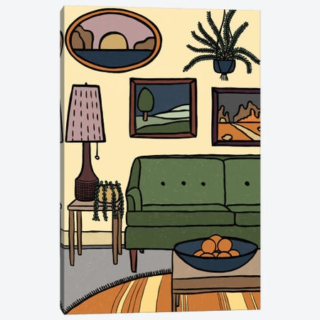 Living Room With Green Couch Canvas Print #ALG41} by Alisa Galitsyna Canvas Wall Art