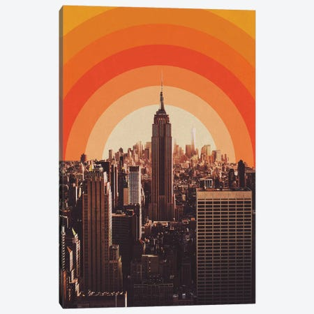 New York's Famous Sunset - Retro City Canvas Print #ALG49} by Alisa Galitsyna Canvas Artwork