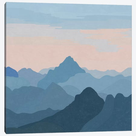 Pastel Sunset Over Blue Mountains Canvas Print #ALG52} by Alisa Galitsyna Canvas Art Print