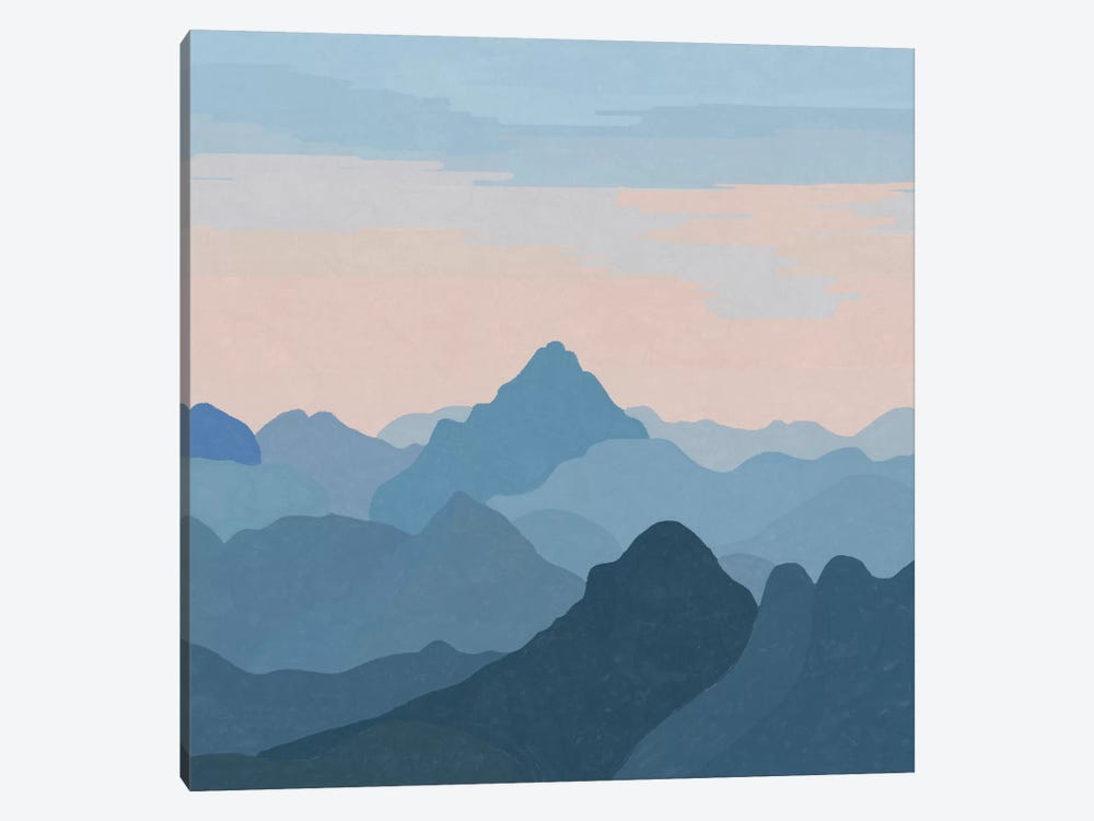 Pastel Sunset Over Blue Mountains by Alisa Galitsyna 1-piece Canvas Print