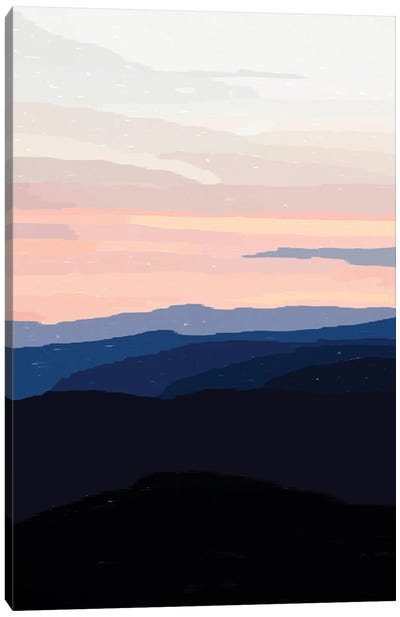 Pastel Sunset Over The Mountains Canvas Art Print