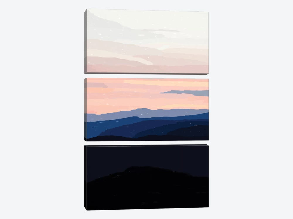 Pastel Sunset Over The Mountains by Alisa Galitsyna 3-piece Canvas Art