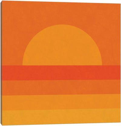 Retro Geometric Sunset Canvas Art Print