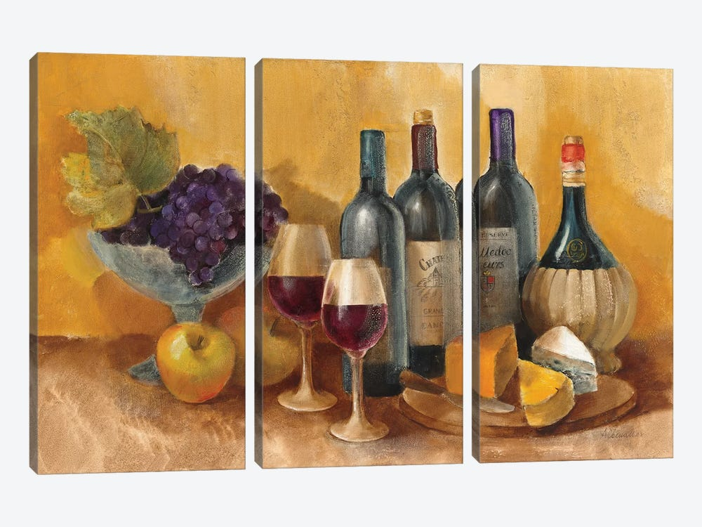 Wine and Fruit I v2 by Albena Hristova 3-piece Art Print
