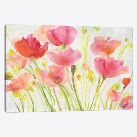 Fluorescent Poppies Canvas Print #ALH59} by Albena Hristova Canvas Wall Art