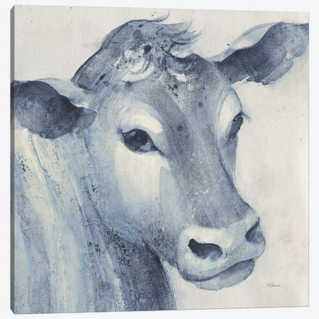 Moo Blue Crop Canvas Print #ALH65} by Albena Hristova Canvas Artwork