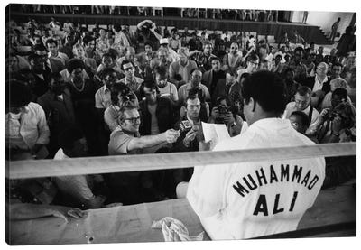 Muhammad Ali Sitting On The Side Of A Ring Talking To The Press Canvas Art Print