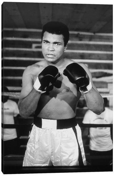 Muhammad Ali With A Fierce Glare While Training Canvas Art Print