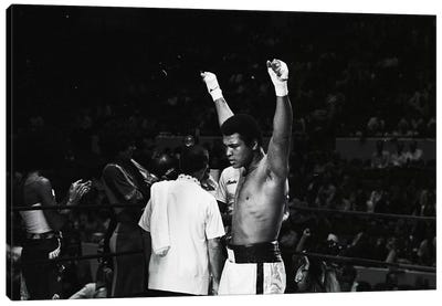 Muhammad Ali With Hands Raised Canvas Art Print