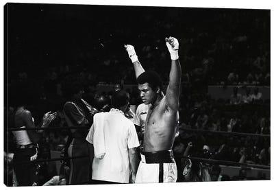 Muhammad Ali With Hands Raised Canvas Art Print