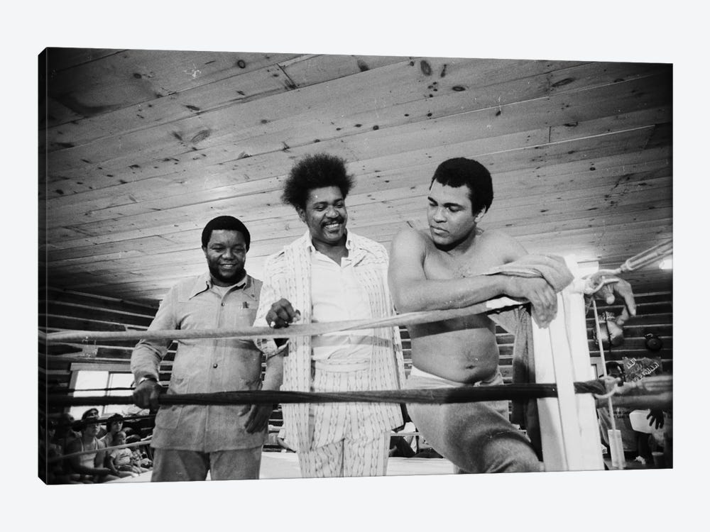Muhammad Ali, Promoter And Friend In A Corner Of The Ring, Deer Lake Training Facility by Muhammad Ali Enterprises 1-piece Canvas Print