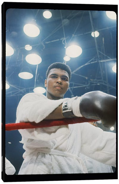 Pre-Fight Corner Shot Of A Young, Robed Muhammad Ali Canvas Art Print