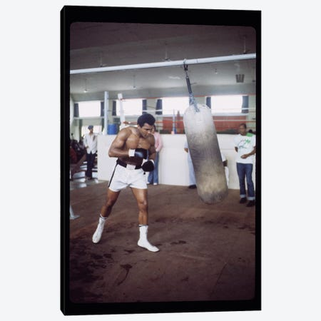 Punching Bag Work At Rumble In The Jungle™ Training Session Canvas Print #ALI73} by Muhammad Ali Enterprises Art Print
