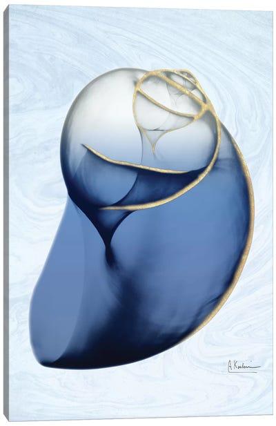 Marble Indigo Snail II Canvas Art Print