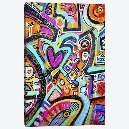 Peacock Love Shimmy Canvas Print #ALM13} by Alloyius McIlwaine Canvas Print