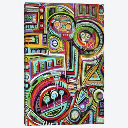 Peeling Rubix Cube Stickers Canvas Print #ALM14} by Alloyius McIlwaine Canvas Artwork