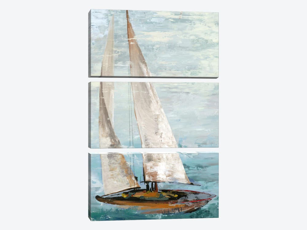 Quiet Boats III by Allison Pearce 3-piece Canvas Print