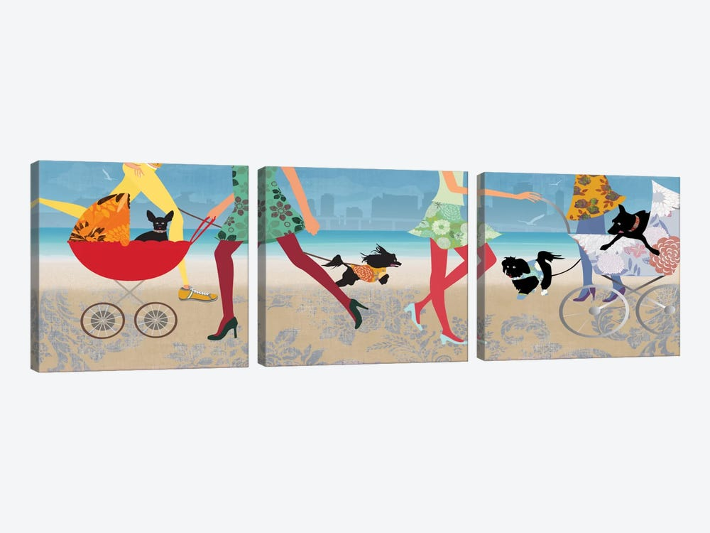 Stroller Dogs I by Allison Pearce 3-piece Canvas Wall Art