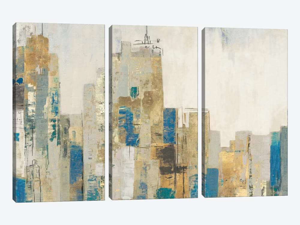 Wide City Blues by Allison Pearce 3-piece Canvas Art Print
