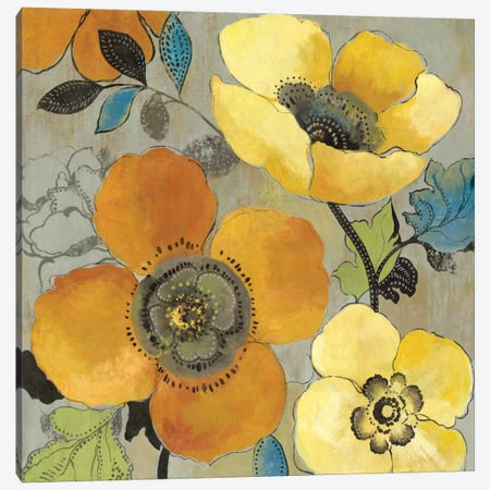 Yellow And Orange Poppies I Canvas Print #ALP229} by Allison Pearce Canvas Wall Art