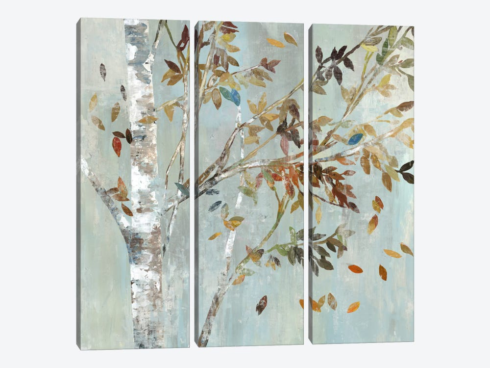 Birch With Leaves I by Allison Pearce 3-piece Canvas Wall Art