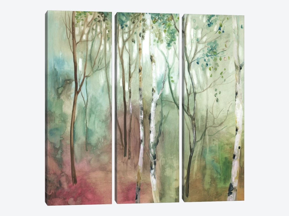 Birch In The Fog I by Allison Pearce 3-piece Canvas Print