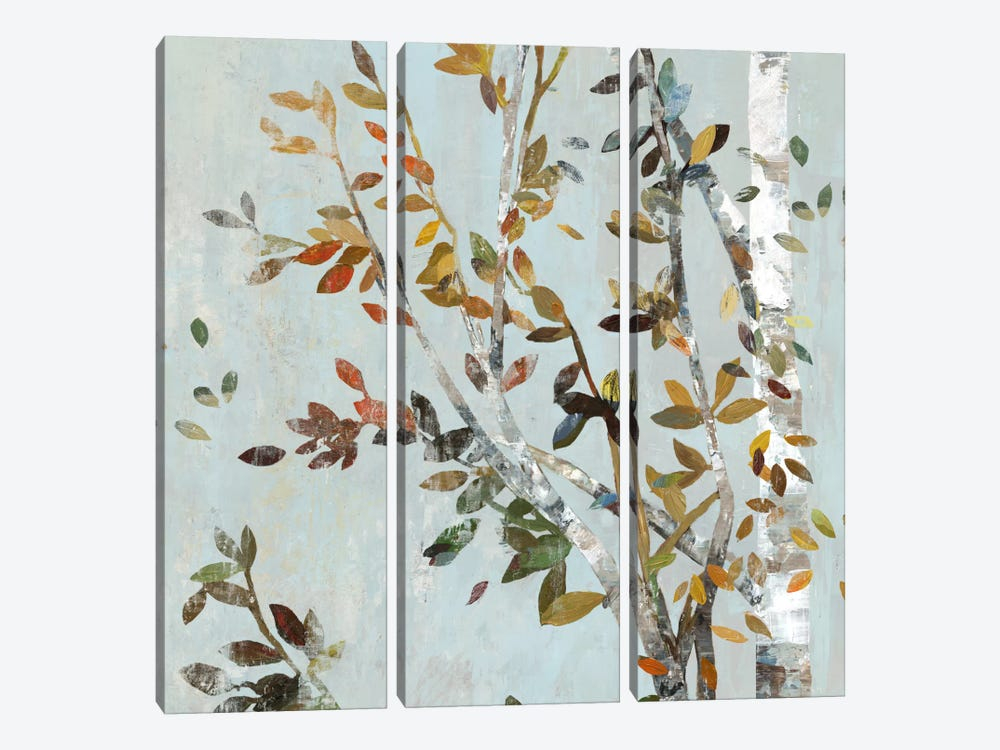 Birch With Leaves II by Allison Pearce 3-piece Canvas Print