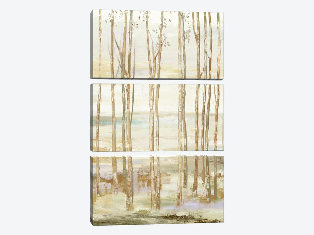 White On White Trees by Allison Pearce 3-piece Canvas Print
