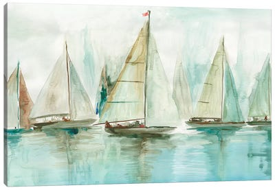 Blue Sailboats I  Canvas Art Print