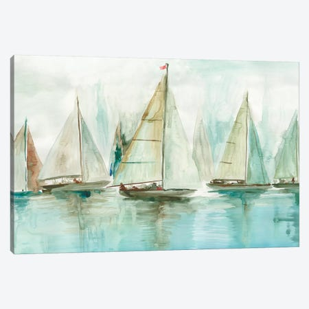 Blue Sailboats I  Canvas Print #ALP275} by Allison Pearce Canvas Wall Art