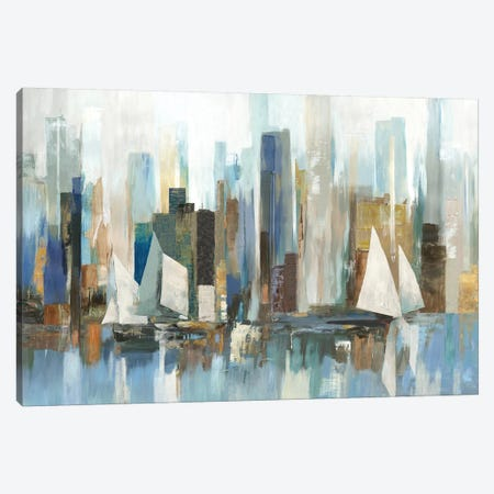 Boats By The Shoreline Canvas Print #ALP276} by Allison Pearce Canvas Wall Art