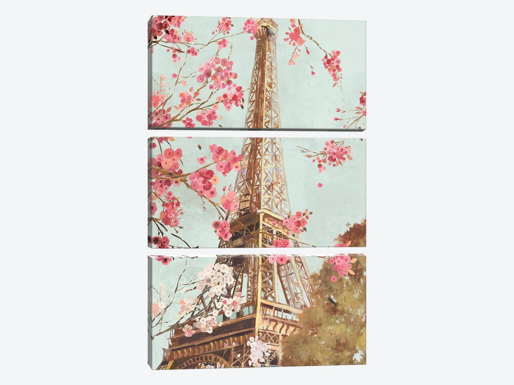 Paris In The Spring I by Allison Pearce 3-piece Canvas Print