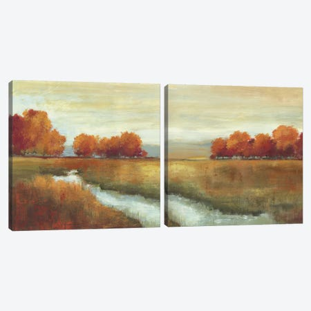 Orange Treescape Diptych Canvas Print Set #ALP2HSET004} by Allison Pearce Canvas Art Print