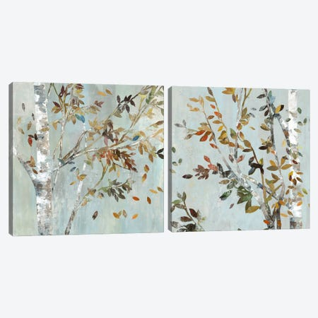 Birch With Leaves Diptych Canvas Print Set #ALP2HSET007} by Allison Pearce Canvas Art Print