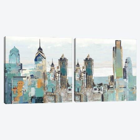 Teal City Diptych Canvas Print Set #ALP2HSET016} by Allison Pearce Canvas Art